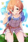 1girl :d blue_shirt blush bug butterfly center_frills collarbone commentary_request day hair_ornament hairpin highres holding hoshizora_rin insect kneeling lace-trimmed_sleeves looking_at_viewer love_live! love_live!_school_idol_project on_ground open_mouth orange_hair outdoors overall_shorts overalls red_ribbon ribbon sen_(sen0910) shirt short_hair short_sleeves smile socks solo striped vertical-striped_overalls vertical_stripes yellow_eyes yellow_legwear