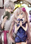 1boy 1girl absurdres blue_dress blue_eyes book charles_henri_sanson_(fate/grand_order) china_dress chinese_clothes covering_mouth cowboy_shot dress fate/grand_order fate_(series) grey_hair hane_yuki highres long_hair looking_at_viewer looking_to_the_side marie_antoinette_(fate/grand_order) messy_hair open_mouth own_hands_together smile twintails white_hair