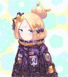 1girl abigail_williams_(fate/grand_order) alternate_hairstyle bandaid_on_forehead bangs belt black_bow black_hat black_jacket blonde_hair blue_eyes bow closed_mouth crossed_bandaids fate/grand_order fate_(series) forehead fuji_den_fujiko hair_bow hair_bun hat heroic_spirit_traveling_outfit high_collar jacket long_hair looking_at_viewer orange_bow parted_bangs polka_dot polka_dot_bow solo