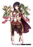 1girl black_hair black_legwear boots cape cravat flower flower_knight_girl full_body highres knee_boots long_hair looking_at_viewer manryou_(flower_knight_girl) object_namesake official_art pantyhose red_cape red_eyes red_skirt skirt smile solo standing thighlet utsurogi_akira wand white_background white_footwear