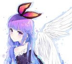 1girl angel_wings bangs bare_shoulders blue_hair blunt_bangs blush choker closed_mouth commission copyright_request expressionless eyebrows_visible_through_hair feathered_wings frills from_behind gradient_hair hair_ribbon looking_at_viewer looking_back multicolored_hair off_shoulder pink_ribbon purple_eyes purple_hair ribbon shiny shiny_hair simple_background solo tr_(hareru) upper_body white_background white_choker white_wings wings