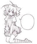 1girl blank_speech_bubble highres looking_at_viewer monochrome sakuya_tsuitachi short_hair simple_background sketch solo speech_bubble striped striped_legwear white_background