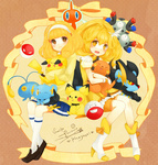 1girl :< bad_id blonde_hair boots bow brown_eyes cardigan character_name chinchou copyright_name cure_peace dual_persona electrode hairband holding kise_yayoi luxray magical_girl magneton pichu pikachu pokemon polka_dot polka_dot_background ponytail potako power_connection precure raichu rotom shinx shorts_under_skirt sitting skirt smile smile_precure! striped striped_background tears voltorb wrist_cuffs yellow yellow_eyes yellow_skirt