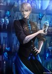 1boy alternate_costume bar bartender blue_eyes bottle bug butterfly cocktail_glass cocktail_shaker commentary_request cup drinking_glass facial_hair fate/grand_order fate_(series) grey_hair hair_between_eyes hand_on_hip insect james_moriarty_(fate/grand_order) kei-suwabe long_sleeves mustache necktie pants shaker shelf sleeves_rolled_up smile solo standing twitter_username upper_body vest wine_glass