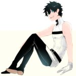 1boy adapted_costume black_hair blue_eyes fate/grand_order fate_(series) fujimaru_ritsuka_(male) gloves looking_at_viewer male_focus open_mouth shirt simple_background sitting sleeveless sleeveless_shirt smile solo t3run white_background white_gloves