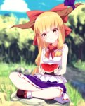 1girl bare_legs blonde_hair boots bow chain commentary_request day eating food fruit full_body hair_bow highres holding holding_fruit horn_ribbon horns ibuki_suika kisamu_(ksmz) long_hair looking_at_viewer low-tied_long_hair outdoors purple_skirt red_bow ribbon shirt sitting skirt sleeveless sleeveless_shirt socks solo touhou watermelon white_legwear white_shirt yellow_eyes