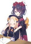 2girls :d ^_^ abigail_williams_(fate/grand_order) bangs black_bow black_dress black_hat black_kimono blonde_hair blue_eyes blush bow calligraphy_brush closed_eyes closed_mouth commentary_request drawing dress facing_viewer fate/grand_order fate_(series) fingernails forehead hair_bow hair_ornament hat highres holding holding_paintbrush japanese_clothes katsushika_hokusai_(fate/grand_order) kimono long_hair long_sleeves multiple_girls open_mouth orange_bow paintbrush parted_bangs polka_dot polka_dot_bow purple_hair smile table thiana0225 very_long_hair white_background wide_sleeves