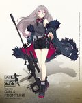 1girl bangs black_footwear black_gloves black_shorts boots breasts character_name coat cross-laced_footwear earphones feather-trimmed_coat floating_hair full_body girls_frontline gloves goggles goggles_around_neck grey_coat grey_hair grey_tank_top gun highres holding holding_gun holding_weapon lace-up_boots logo long_hair looking_away medium_breasts multicolored_hair multiple_straps off_shoulder official_art open_clothes open_coat purple_eyes purple_hair rifle scope shorts sidelocks single_glove sniper_rifle sola7764 solo streaked_hair t-cms_(girls_frontline) tank_top tinted_eyewear truvelo_cms very_long_hair weapon wristband