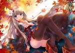 1girl ass autumn_leaves bangs blue_eyes blunt_bangs blush brown_kimono brown_legwear commentary_request copyright_request flower frilled_sleeves frills hair_flower hair_ornament holding holding_leaf japanese_clothes kimono leaf light_brown_hair long_hair long_sleeves looking_at_viewer obi official_art parted_lips platform_footwear red_footwear sash solo thighhighs usagihime very_long_hair water_drop white_flower wide_sleeves zouri