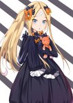 1girl abigail_williams_(fate/grand_order) absurdres alternate_hairstyle bandaid_on_forehead bangs black_bow blonde_hair blue_eyes bow commentary_request crossed_bandaids eyebrows_visible_through_hair fate/grand_order fate_(series) hair_bow hair_ornament highres long_hair looking_at_viewer multiple_bows multiple_hair_bows object_hug orange_bow parted_bangs parted_lips polka_dot polka_dot_bow sleeves_past_fingers sleeves_past_wrists solo stuffed_animal stuffed_toy teddy_bear tming triangle_mouth very_long_hair