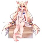 1girl animal_ears barefoot blonde_hair blue_eyes cat_ears commentary_request feet g41_(girls_frontline) girls_frontline heterochromia highres kosobin legs long_hair low-tied_long_hair navel no_pants open_mouth panties red_eyes shirt sitting soles solo toes twintails underwear very_long_hair white_panties white_shirt