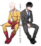 2boys bald black_hair blue_neckwear bodysuit boots business_suit cape commentary copyright_name dual_persona formal gloves kina58 long_sleeves multiple_boys necktie one-punch_man pants red_footwear red_gloves saitama_(one-punch_man) side-by-side sitting suit white_background white_cape yellow_bodysuit