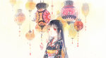 1girl bangs black_hair blunt_bangs butterfly enma_ai hime_cut japanese_clothes jigoku_shoujo kimono lantern long_hair red_eyes rei_(456789io) solo traditional_media watercolor_(medium)