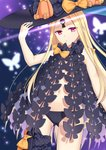 1girl abigail_williams_(fate/grand_order) arm_up ass_visible_through_thighs asymmetrical_legwear bangs black_bow black_hat black_legwear black_panties blonde_hair blurry blurry_background bow bug butterfly commentary_request depth_of_field fate/grand_order fate_(series) glowing hand_on_hip hat hat_bow insect long_hair looking_at_viewer navel orange_bow panties parted_bangs polka_dot polka_dot_bow purple_eyes revealing_clothes siika_620 single_thighhigh skull_print solo stuffed_animal stuffed_toy teddy_bear thighhighs topless underwear very_long_hair witch_hat