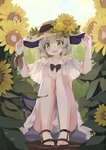 1girl :d bangs bare_legs bare_shoulders black_bow blue_sky blush bow collarbone commentary coria day dress eyebrows_visible_through_hair flower full_body green_eyes green_hair hands_on_headwear hat hat_flower highres komeiji_koishi leaf looking_at_viewer open_mouth outdoors ribbon sandals short_sleeves sky smile solo squatting sun_hat sunflower symbol_commentary touhou white_dress wrist_ribbon yellow_flower