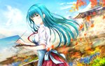 1girl 2018 apron aqua_hair art_brush autumn_leaves bangs bird blue_apron blue_sky blurry breasts bug canvas_(object) chiyoura_ayame closed_mouth cloud commentary_request dated depth_of_field dragonfly easel eyebrows_visible_through_hair girlfriend_(kari) glint grass hair_ornament hairclip highres holding holding_brush insect leaf long_hair looking_at_viewer maple_leaf masa_(mirage77) medium_breasts mountain nature necktie outdoors paintbrush painting palette partial_commentary pleated_skirt purple_eyes red_neckwear red_skirt river rural scenery school_uniform shirt skirt sky solo standing uniform wallpaper water white_shirt x_hair_ornament