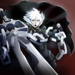 1boy :o absurdres armor black_cape black_gloves broken broken_chain brown_background cape chain emperor_(sennen_sensou_aigis) gauntlets glint gloves highres holding holding_sword holding_weapon looking_at_viewer male_focus sennen_sensou_aigis standing sword thiro weapon white_hair