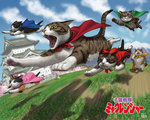 architecture bow cape cat commentary_request dated day east_asian_architecture flying hair_bow matataku mountain no_humans outdoors pagoda parody running signature sky super_sentai surprised_cat_(matataku)
