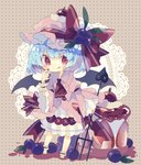 1girl :q ankle_cuffs bangs barefoot bat_wings blue_hair blueberry bow brown_background cake cherry commentary_request dress eyebrows_visible_through_hair food fruit full_body hair_between_eyes hand_up hat hat_bow highres holding holding_weapon juliet_sleeves lace laevatein leaf long_sleeves looking_at_viewer mob_cap nail_polish nikorashi-ka pink_dress pink_headwear polearm polka_dot polka_dot_background puffy_sleeves red_bow red_eyes red_nails remilia_scarlet short_hair smile solo standing striped tongue tongue_out touhou trident vertical_stripes weapon wide_sleeves wings wrist_cuffs