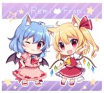 2girls :3 :d ;) animal_ears arm_garter arm_up ascot bat_wings blonde_hair blue_hair blush bobby_socks bow brooch cat_ears cat_tail character_name chibi commentary crystal fang flandre_scarlet frilled_shirt_collar frills full_body hair_ribbon hands_on_hips highres jewelry kemonomimi_mode looking_at_viewer multiple_girls no_hat no_headwear one_eye_closed open_mouth pink_shirt pink_shoes pink_skirt puffy_short_sleeves puffy_sleeves red_bow red_eyes red_ribbon red_shirt red_shoes red_skirt remilia_scarlet ribbon sash shirt shoes short_sleeves siblings side_ponytail sisters skirt skirt_set smile socks star tail touhou white_legwear wings yada_(xxxadaman)