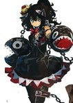 1girl absurdres black_dress black_eyes black_hair bow chain commentary_request crown dress highres kaamin_(mariarose753) looking_at_viewer mario_(series) new_super_mario_bros._u_deluxe open_mouth princess_chain_chomp red_bow sharp_teeth simple_background sketch solo super_crown teeth tilted_headwear white_background