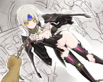 1girl arm_behind_back blush bottomless chain code:_nemesis_(elsword) coladaisuki crack elsword eve_(elsword) facial_mark forehead_jewel long_hair nipples one_breast_out panties pink_panties restrained silver_hair torn_clothes underwear wings yellow_eyes