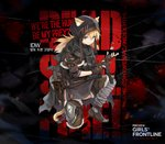 1girl alternate_costume animal_ears bangs black_cape blonde_hair blue_eyes brown_gloves bushman_idw cape cat_ears chain fingerless_gloves girls_frontline gloves gun hair_between_eyes highres holding holding_gun holding_weapon idw_(girls_frontline) kisetsu long_hair looking_at_viewer official_art smile solo submachine_gun tail token torn_cape torn_clothes twintails weapon