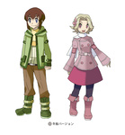 1boy 1girl alternate_costume blue_eyes boots brown_hair child coat commentary_request elite_four flower hair_flower hair_ornament kikuko_(pokemon) mizuno_(gcdmw) ookido_yukinari open_mouth pantyhose pokemon pokemon_(game) purple_hair scarf short_hair smile standing sugimori_ken_(style) translated younger
