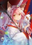 1girl animal_ear_fluff animal_ears bell blush breasts ears_through_headwear fate/grand_order fate_(series) fox_ears fox_girl fox_mask fox_tail hair_between_eyes holding holding_mask japanese_clothes kagachi_saku kimono large_breasts long_hair looking_at_viewer mask pink_hair solo tail tamamo_(fate)_(all) tamamo_no_mae_(fate) tears uchikake veil wedding yellow_eyes