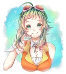 1girl ahoge amulet bangs bare_shoulders birthday character_name commentary cropped_torso detached_collar goggles goggles_on_head googles green_eyes green_hair gumi hand_on_headphones headphones highres looking_at_viewer mai_mugi microphone orange_shirt shirt short_hair_with_long_locks sidelocks smile solo star upper_body vocaloid wrist_cuffs