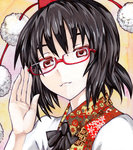 1girl acrylic_paint_(medium) adjusting_glasses ascot bespectacled black_hair eyelashes glasses hand_up hat head_tilt kabaji light_smile looking_at_viewer portrait red_eyes semi-rimless_glasses shameimaru_aya short_hair solo tokin_hat touhou traditional_media under-rim_glasses