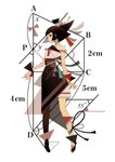 1girl appi bangs black_hair blunt_bangs expressionless full_body geometry highres looking_at_viewer math number original pantyhose profile red_eyes red_nails short_hair simple_background solo standing white_background