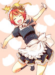 1girl :d ^_^ apron blush cat chado closed_eyes gloves hoshizora_rin love_live! love_live!_school_idol_project maid maid_apron maid_headdress open_mouth orange_hair outstretched_arms pinstripe_pattern short_hair smile solo spread_arms striped waist_apron