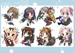 6+girls ahoge aoba_(kantai_collection) bare_shoulders blonde_hair blue_eyes bow breasts brown_hair choukai_(kantai_collection) detached_sleeves green_eyes hair_bow hair_ornament hair_ribbon hairband hairclip headgear japanese_clothes kantai_collection kinugasa_(kantai_collection) kongou_(kantai_collection) long_hair maya_(kantai_collection) medium_breasts multiple_girls nontraditional_miko pink_hair ponytail purple_hair red_eyes remodel_(kantai_collection) ribbon school_uniform serafuku shigure_(kantai_collection) short_sleeves skirt smile thighhighs ume_(pickled_plum) yuudachi_(kantai_collection) zuikaku_(kantai_collection)