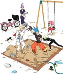 2girls 3boys action_figure aina_ardebit bag barefoot biar_colossus bicycle bicycle_basket blank_stare blonde_hair blue_eyes blue_hair boots cravat galo_thymos gloves grocery_bag ground_vehicle hose kray_foresight lio_fotia multiple_boys multiple_girls open_mouth pink_hair play promare purple_hair sandbox shopping_bag shorts side_ponytail smile spiked_hair spring_onion swing_set thighhighs usuyakikamaboko