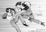 2boys android_17 armband artist_name clenched_hand clenched_teeth dragon_ball dragon_ball_super dragon_ball_z dual_persona earrings fighting gloves jewelry kim_yura_(goddess_mechanic) male_focus multiple_boys neckerchief open_mouth shoes sneakers speed_lines teeth time_paradox twitter_username