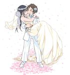 2girls ^_^ arms_around_neck bare_shoulders black_hair blush bridal_veil brown_hair carrying closed_eyes dress eyebrows flower formal glasses hair_flower hair_ornament head_wreath long_hair m_k multiple_girls original pant_suit princess_carry rose short_hair smile suit veil white_background wide_sleeves wife_and_wife yellow_dress yuri