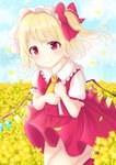 1girl arms_up asymmetrical_sleeves bangs blonde_hair blue_sky blush bobby_socks bow cloud cowboy_shot cravat crystal day eyebrows_visible_through_hair field flandre_scarlet flower flower_field folded_leg frilled_shirt_collar frills hair_bow hands_on_own_chest hat head_tilt looking_at_viewer mob_cap nibosisuzu outdoors petals red_eyes red_footwear red_skirt red_vest shirt short_hair short_sleeves side_ponytail skirt sky smile socks solo standing standing_on_one_leg swept_bangs touhou vest white_headwear white_legwear white_shirt wind wind_lift wings yellow_neckwear