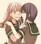 2girls black_hair blush brown_eyes brown_hair face-to-face food hand_on_another's_shoulder kantai_collection kitakami_(kantai_collection) long_hair multiple_girls ooi_(kantai_collection) open_mouth pocky pocky_day pocky_kiss sailor_collar shared_food short_sleeves takamachiya tan_background trembling upper_body yuri
