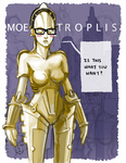1girl android blush_stickers breasts cityscape commentary copyright_name cyberpunk english glasses jonathan_kim maschinenmensch metropolis_(fritz_lang) moe no_humans parody pun robot science_fiction solo