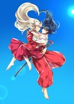 1boy 1girl animal_ears arms_around_neck arms_around_waist barefoot black_hair blue_eyes blue_sky carrying couple dog_ears face-to-face falling hetero highres higurashi_kagome hug inuyasha inuyasha_(character) japanese_clothes jewelry lens_flare long_hair looking_at_another midair miko motobi_(mtb_umk) necklace orange_eyes pearl_necklace protected_link robe scabbard sheath sheathed silver_hair sky smile sun sword weapon wide_sleeves