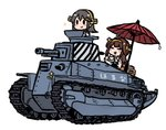 2girls ahoge brown_hair character_name chibi closed_eyes commentary_request cup double_bun grey_hair ground_vehicle hair_ornament hairclip haruna_(kantai_collection) headgear holding holding_cup holding_saucer kantai_collection kongou_(kantai_collection) long_hair military military_vehicle motor_vehicle multiple_girls nontraditional_miko oriental_umbrella picnic_basket simple_background sparkle tank teacup terrajin type_89_i-gou umbrella white_background