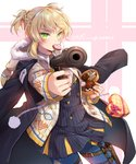 1girl alternate_costume bangs black_coat blonde_hair blue_legwear blush bow box braid buttons candy chocolate chocolate_heart double-breasted finger_on_trigger food food_in_mouth girls_frontline green_eyes gun heart heart-shaped_box holding holster ika_(4801055) jacket looking_at_viewer open_clothes open_jacket open_mouth pantyhose pointing_weapon red_bow red_ribbon ribbon shirt short_hair signature skirt solo thigh_holster twintails twitter_username valentine weapon welrod_mk2 welrod_mk2_(girls_frontline)
