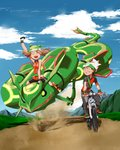 1boy 1girl arm_up backpack bag bandana bicycle bike_shorts black_pants black_shorts blue_sky breasts brown_hair clenched_teeth closed_eyes cloud cloudy_sky collared_dress commentary_request donnpati dress fanny_pack fingerless_gloves gen_3_pokemon gloves green_bandana green_eyes ground_vehicle haruka_(pokemon) hat highres legendary_pokemon looking_at_another mountain open_mouth orange_dress orange_gloves pants path pocket pokemon pokemon_(creature) pokemon_(game) pokemon_emerald pokemon_rse rayquaza riding_pokemon road shoes short_hair short_sleeves shorts sign sky sleeveless sleeveless_dress smile sweatdrop teeth wing_collar yuuki_(pokemon)