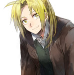 1boy blonde_hair coat edward_elric eyebrows_visible_through_hair fullmetal_alchemist happy long_hair looking_at_viewer lowres male_focus ponytail riru shirt simple_background smile solo waistcoat white_background white_shirt yellow_eyes