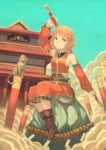1girl boots chinese cloud commentary_request detached_sleeves genderswap genderswap_(mtf) hair_ornament holding holding_weapon journey_to_the_west monkey monkey_tail orange_eyes orange_hair original peroncho pointy_ears rock rope ruyi_jingu_bang sitting sleeveless staff sun_wukong tail translated weapon