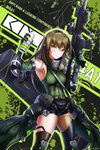 1girl absurdres arm_guards armband armpits artist_name assault_rifle asymmetrical_legwear bangs belt black_legwear black_shorts breasts brown_eyes brown_hair can character_name commentary elbow_gloves eyebrows_visible_through_hair gas_mask girls_frontline gloves green_hair green_sweater gun hair_between_eyes highres holding holding_can holding_gun holding_weapon huge_filesize knee_pads long_hair looking_at_viewer m4_carbine m4a1_(girls_frontline) magazine_(weapon) mod3_(girls_frontline) multicolored_hair muzent pouch ribbed_legwear rifle short_shorts shorts sidelocks skull_print smile snap-fit_buckle solo streaked_hair sweater sweater_vest thighhighs trigger_discipline weapon