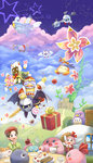 3girls 6+boys absurdres adeleine amripo angel_wings apple bandana bandana_waddle_dee black_eyes bow bowtie brown_hair cake candle candy castle character_request chuchu_(kirby) cloud coat coo_(kirby) cup dark_meta_knight day flower food fork fruit galacta_knight galaxia_(sword) gift gloves gooey hair_ribbon happy_birthday highres hill house kine_(kirby) king_dedede kirby kirby's_dream_land_2 kirby's_dream_land_3 kirby's_epic_yarn kirby's_return_to_dream_land kirby:_triple_deluxe kirby_(series) kirby_64 kirby_super_star kirby_super_star_ultra lollipop lor_starcutter marx mask maxim_tomato meta_knight multiple_boys multiple_girls pink_hair plant plate polearm prince_fluff ribbon ribbon_(kirby) rick_(kirby) shadow_kirby shield ship spear star sword taranza teacup vines watercraft weapon white_gloves wings yellow_eyes
