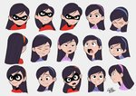 1girl angry artist_name clenched_teeth closed_eyes commentary_request domino_mask expressions frown gurihiru hairband happy mask open_mouth raised_eyebrow raised_eyebrows round_teeth serious signature solo surprised teeth the_incredibles turtleneck unamused violet_parr