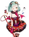 1girl ;p aqua_hair armband bang_dream! black_hat black_legwear black_ribbon blush bow bowtie bracelet breasts candy cleavage cowboy_shot cross-laced_clothes crown demon_horns demon_tail demon_wings dress earrings finger_to_mouth food fur_collar ghost gloves green_eyes hair_ribbon hairband halloween halloween_costume hat heart heart_earrings highres hikawa_hina holding holding_staff horns jack-o'-lantern jewelry lock lollipop looking_at_viewer medium_breasts mini_crown navel navel_cutout one_eye_closed padlock pink_gloves pink_ribbon polka_dot polka_dot_dress puckjjick_(belbesi19) purple_neckwear red_dress ribbon short_hair simple_background solo staff star tail thighhighs tongue tongue_out top_hat white_background wings witch_hat